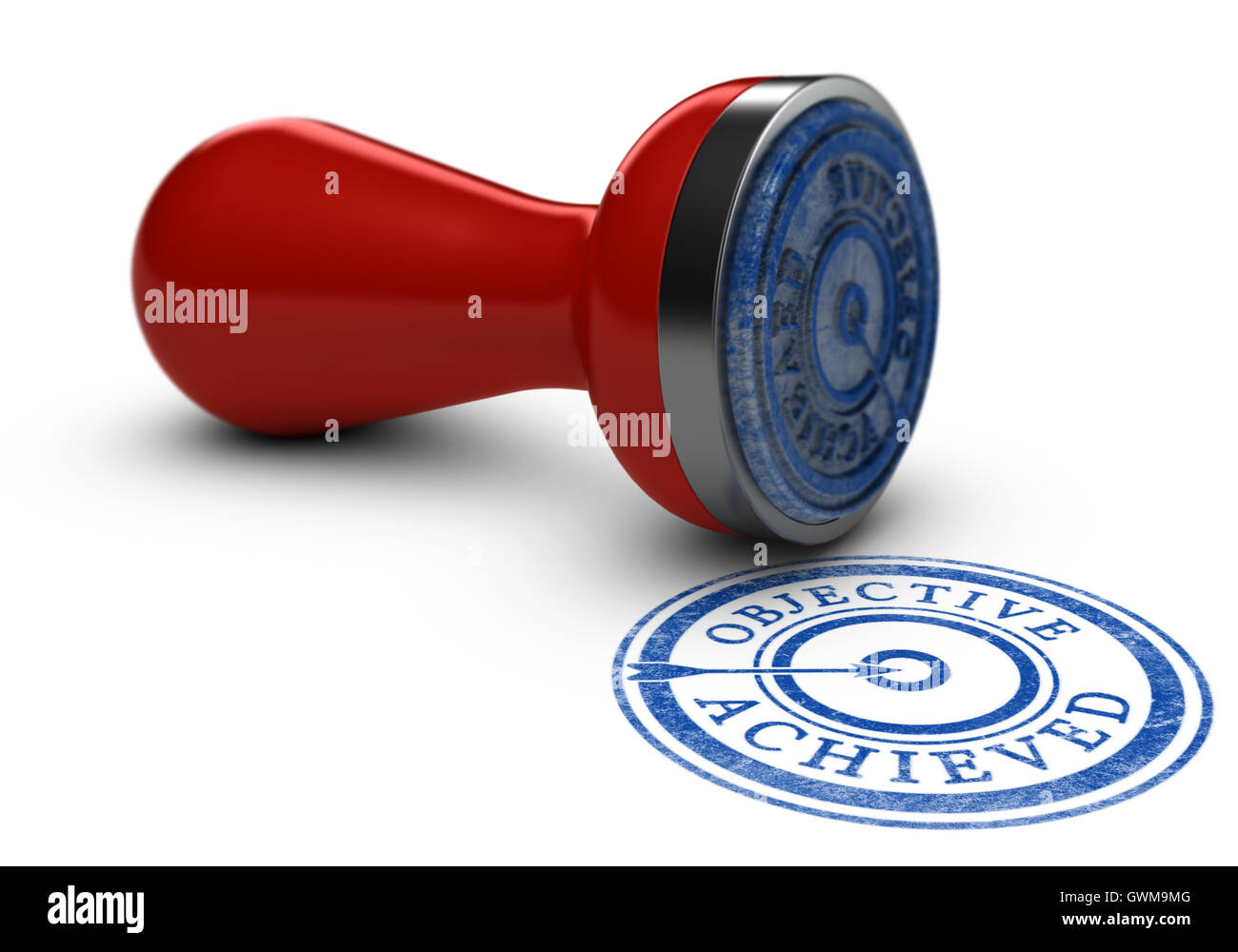 3D illustration of a rubber stamp where it is written objective achieved over white background. Concept of training - Stock Image
