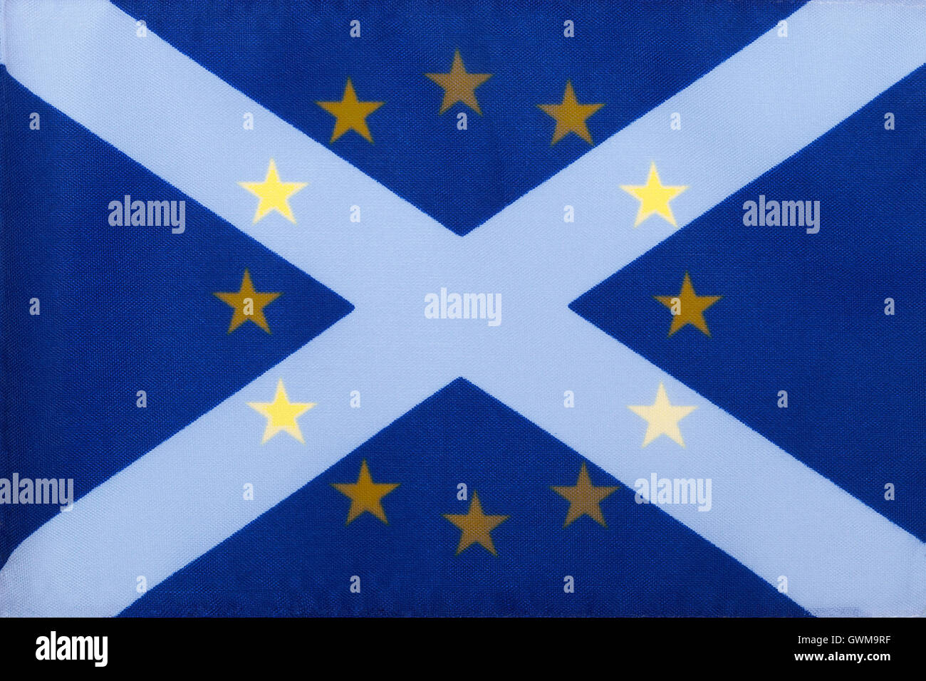 The flag of the European Union superimposed on the St Andrews flag of Scotland - Stock Image