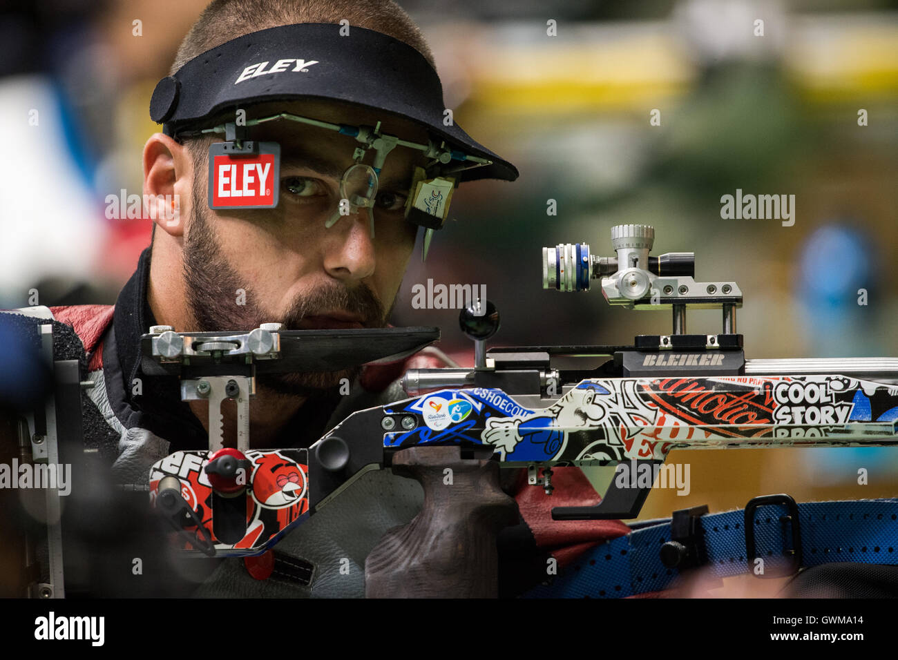 Great Britain's Matt Skelhon competing in the R6 - Mixed 50m Rifle Prone SH1 Final at the Olympic Shooting Centre - Stock Image