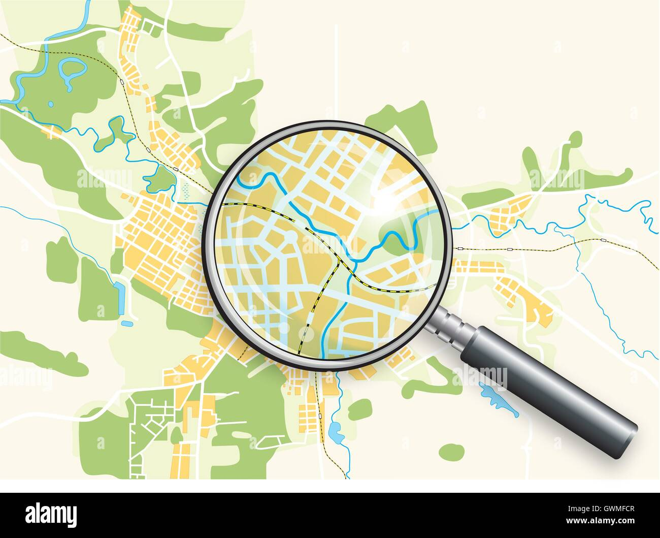City Geo Map and Magnifying Glass Lens. Color bright decorative background vector illustration. - Stock Vector