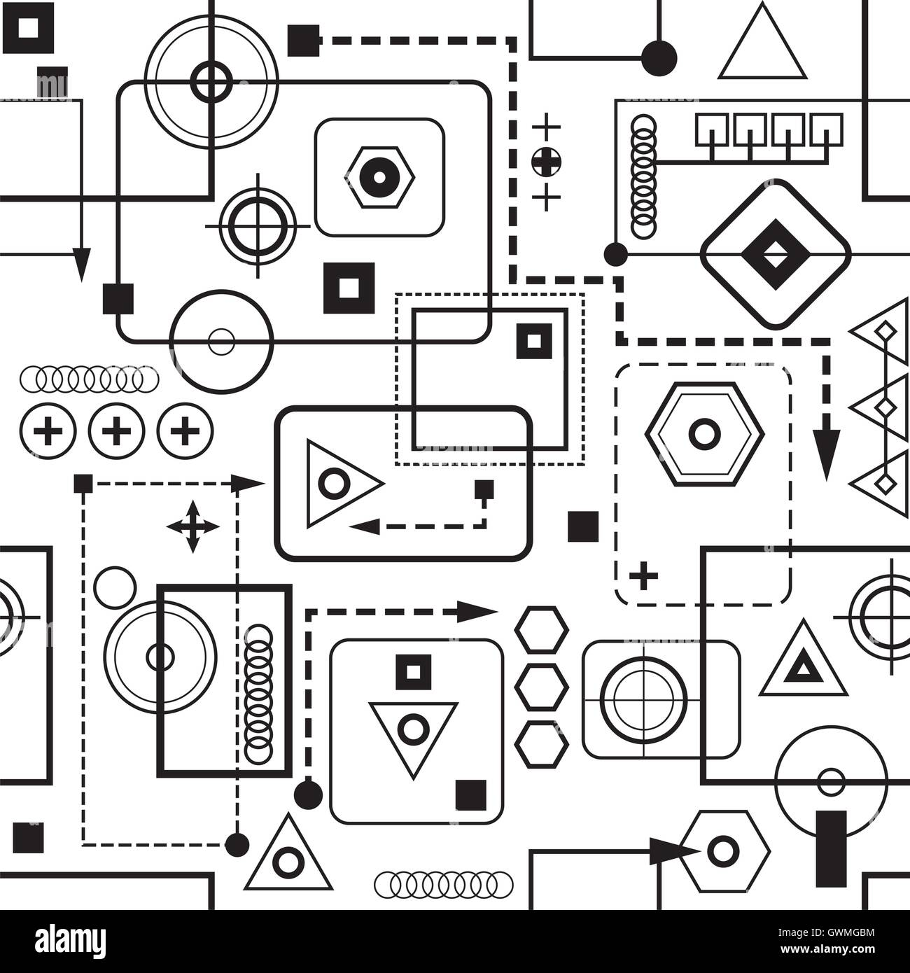 Mechanical seamless pattern 2.0 Black-and-white vector version EPS-8. - Stock Vector
