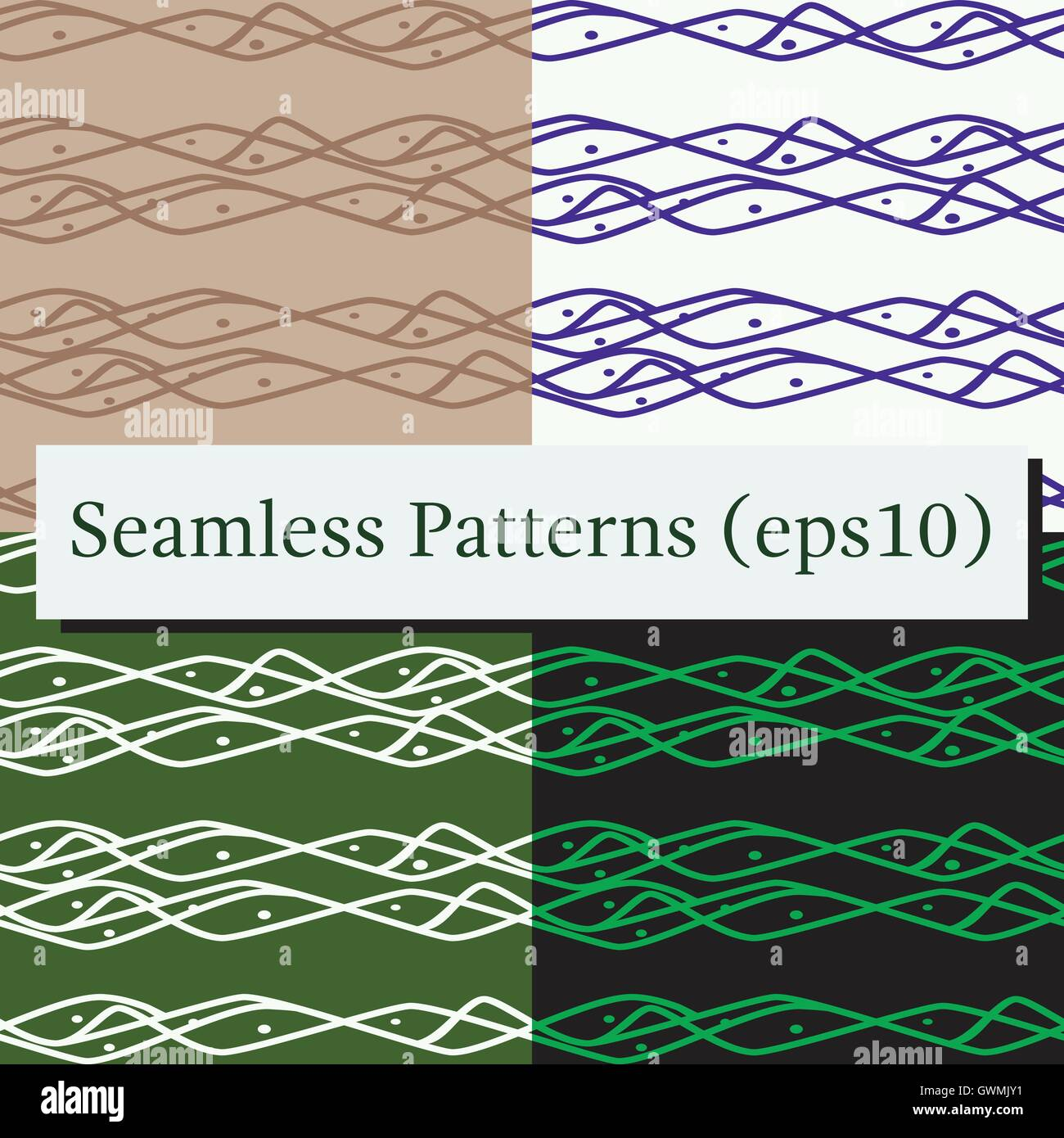 seamless horizontal lines pattern set in black blue white and green colors good for textile package or other decoration