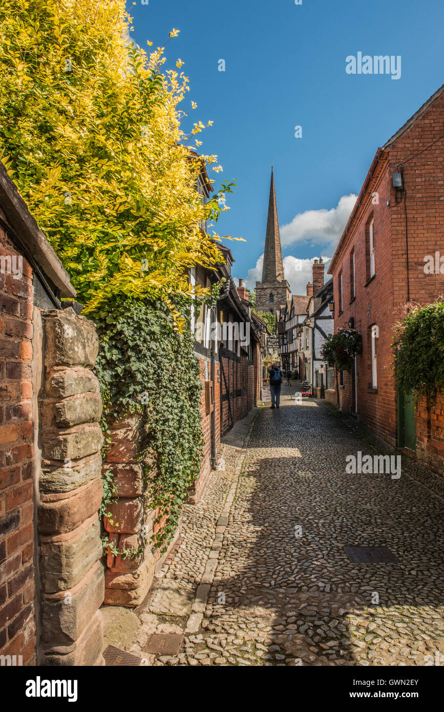 Church Lane in the rural town of Ledbury Herefordshire - Stock Image