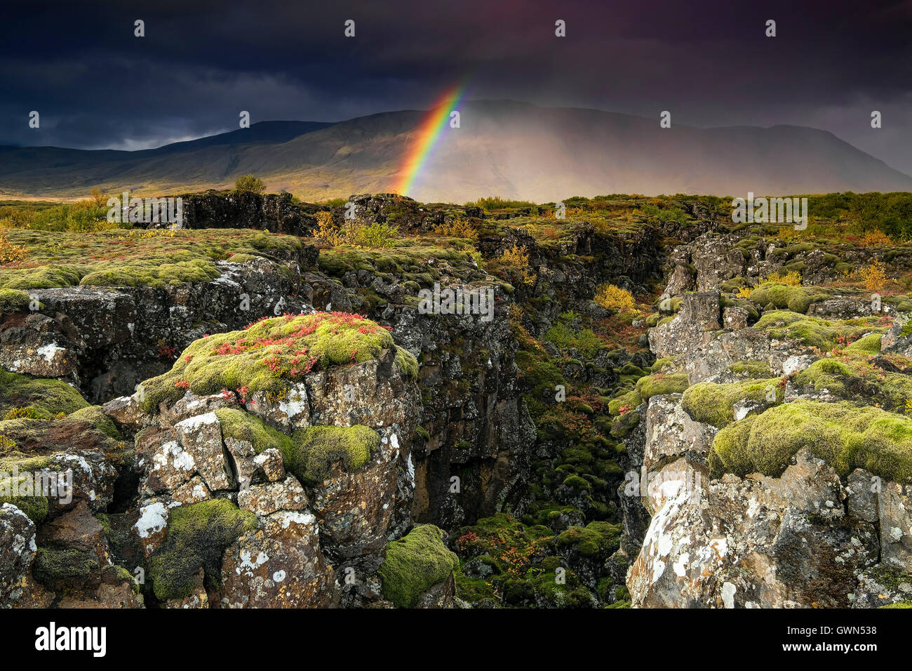 Rainbow and Rainstorm over Tectonic Plate Fissure, Thingvellir National Park, South Western Iceland - Stock Image