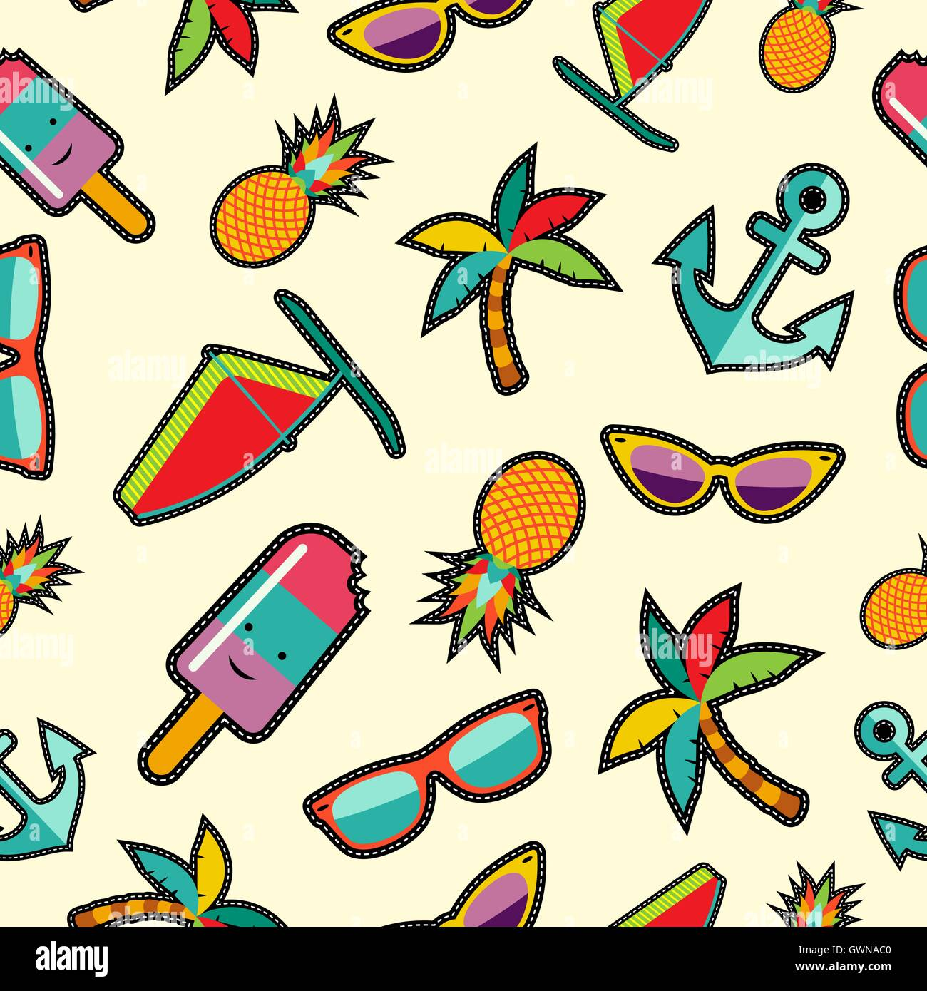 Vector Vintage Pop Art Beach Holiday Illustration Stock: Summer Background With Colorful Beach Elements In Pop Art