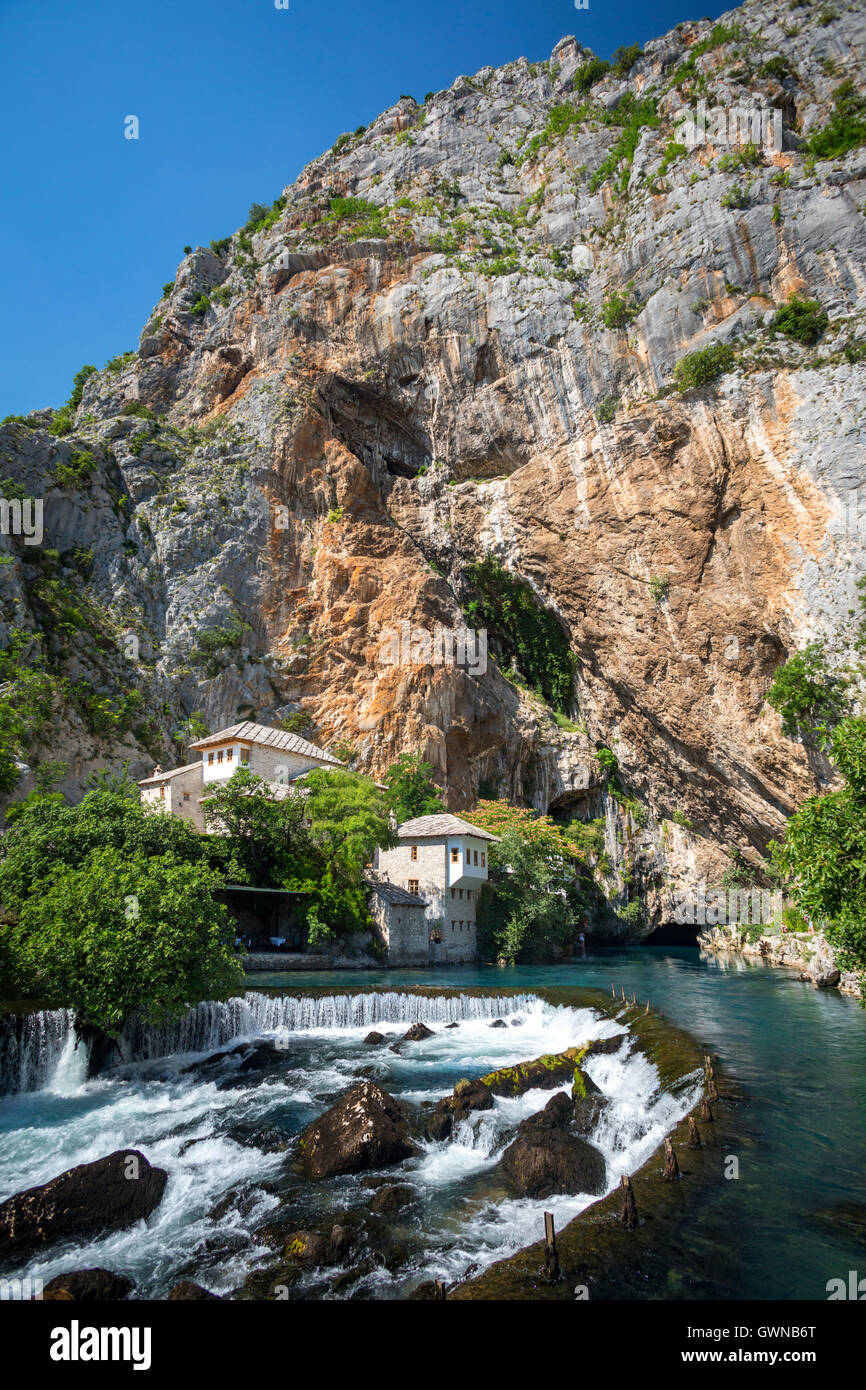 The karstic source of the Buna river at Blagaj and Derviche monastery (Tekke). Bosnia and Herzegovina. - Stock Image