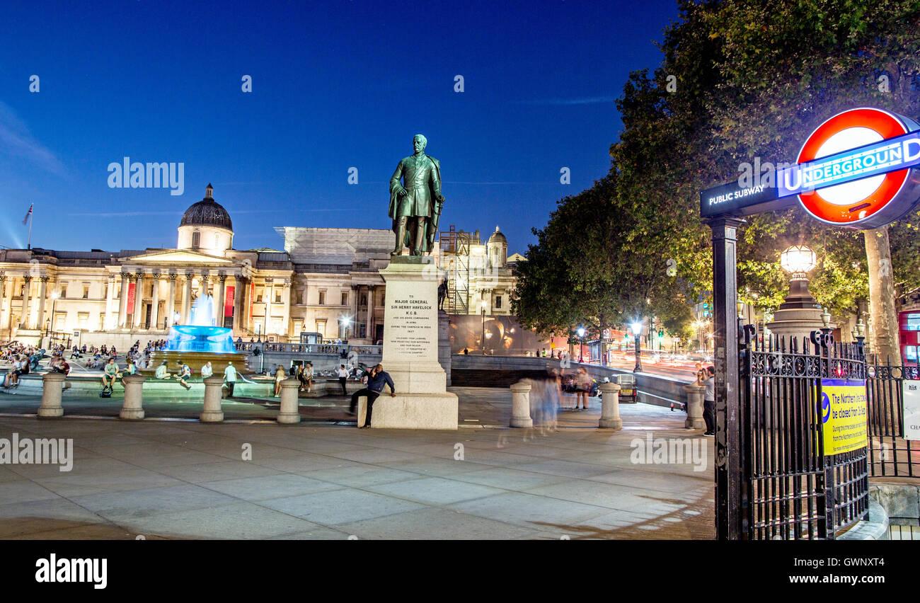Underground Station Trafalgar Square at Night London UK - Stock Image