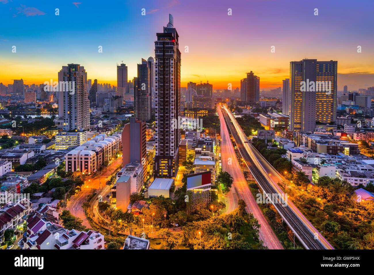 Bangkok, Thailand skyline from Krung Thon Buri. - Stock Image