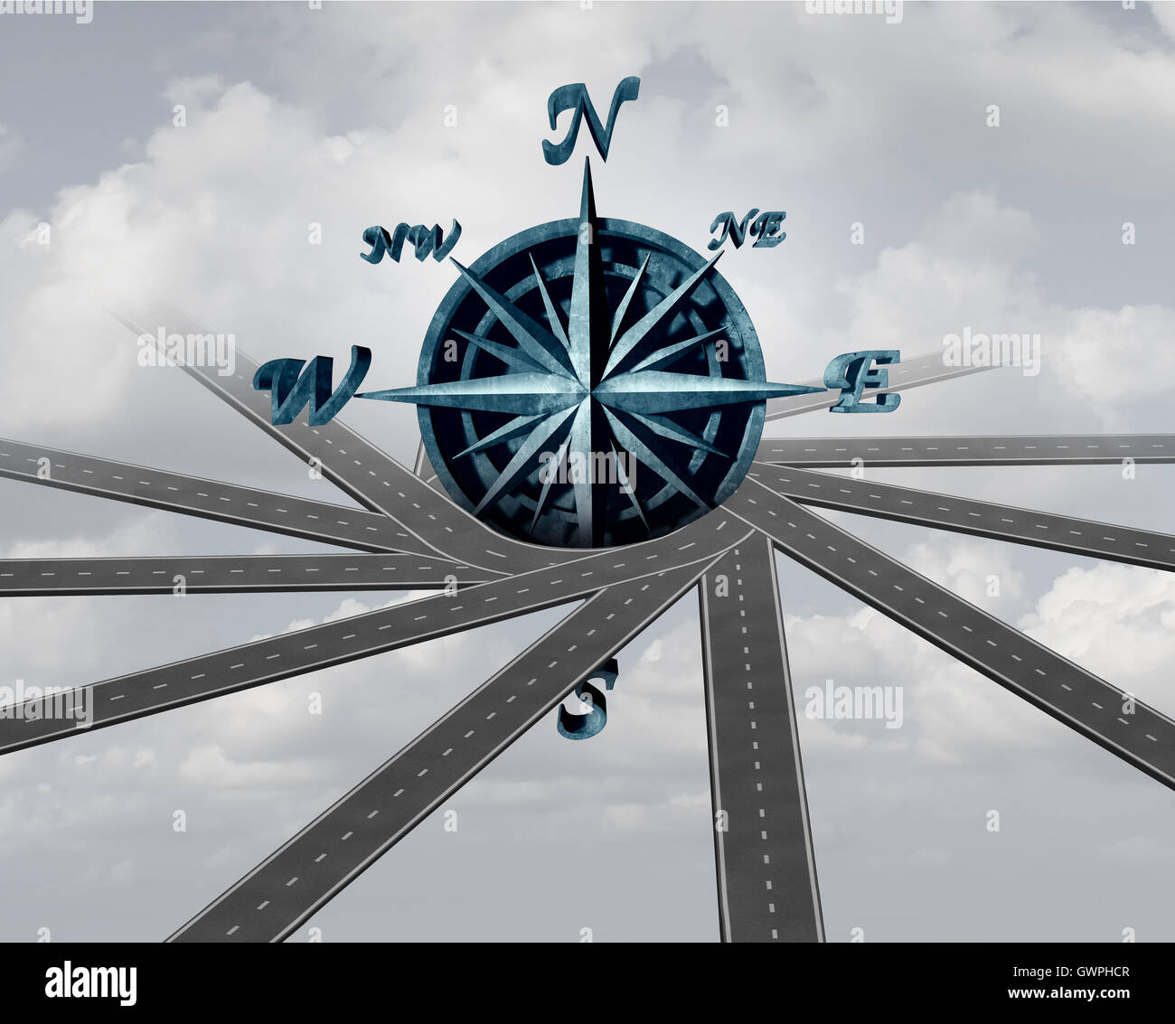 Decide on direction and path choice concept as a wind rose compass wrapped with roads as a navigation and transport - Stock Image