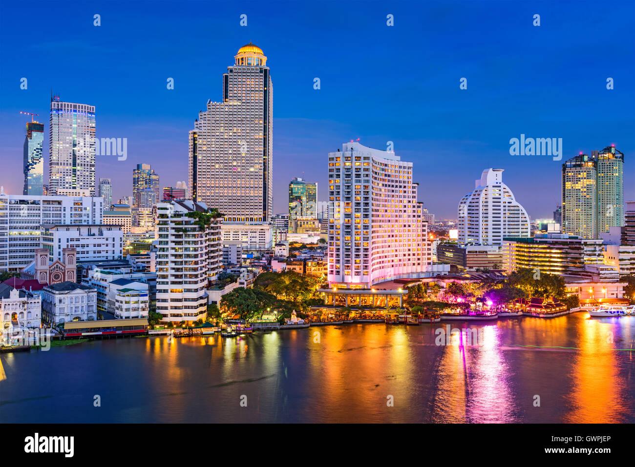 Bangkok, Thailand skyline on the Chao Phraya River. Stock Photo