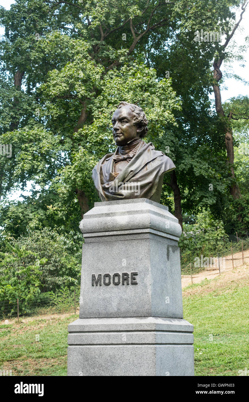 Bronze bust of the poet Thomas Moore in Central Park in New York City - Stock Image
