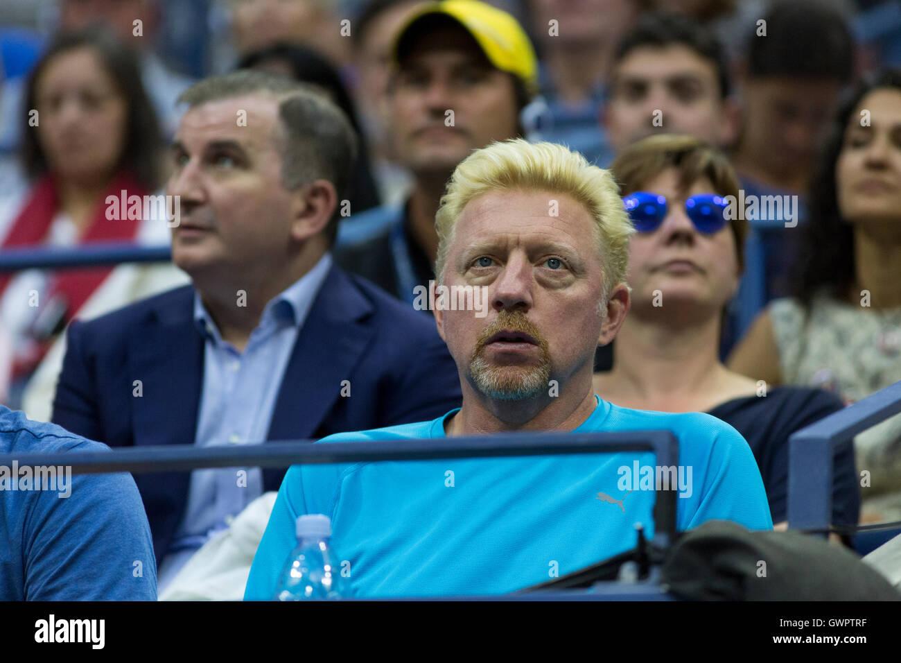 Boris Becker, Novak Djokovic's (SRB) coach watches the 2016 US Open Men's Final - Stock Image