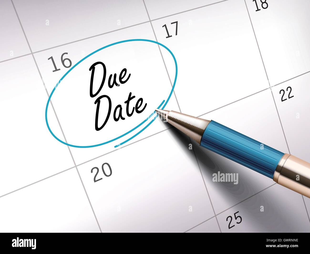 Due Date Words Circle Marked On A Calendar By A Blue Ballpoint Pen