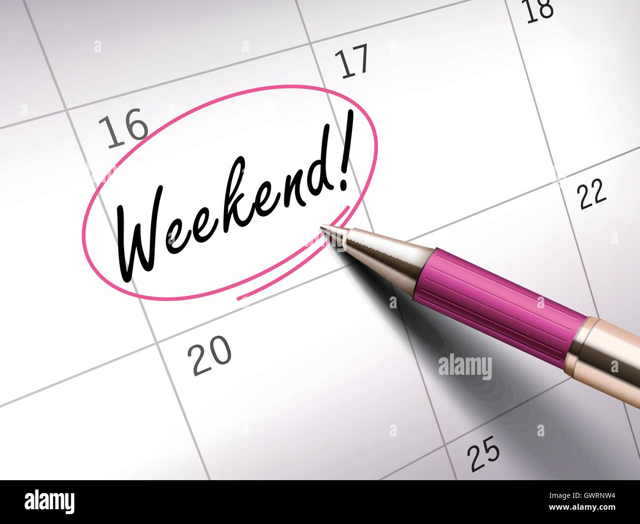 Weekend words circle marked on a calendar by a pink ballpoint pen - Stock Vector