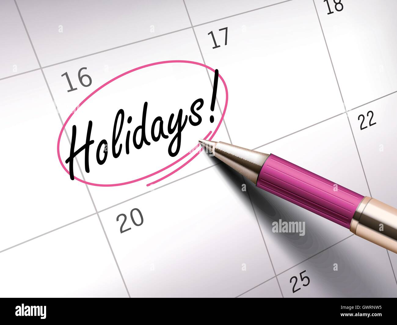 Holidays words circle marked on a calendar by a pink ballpoint pen - Stock Vector