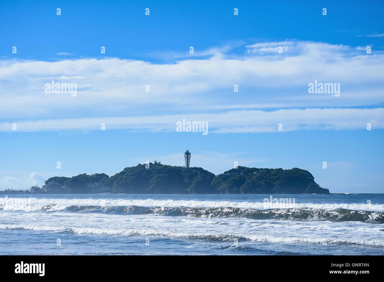 Beach in Enoshima, Kanagawa Prefecture, Japan - Stock Image