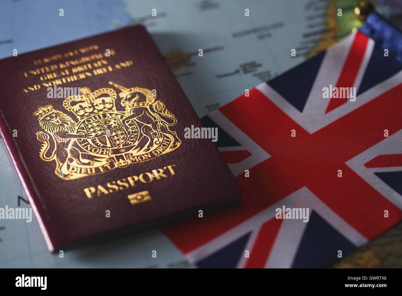 Uk passport on world map stock photo 119153054 alamy uk passport on world map gumiabroncs Images
