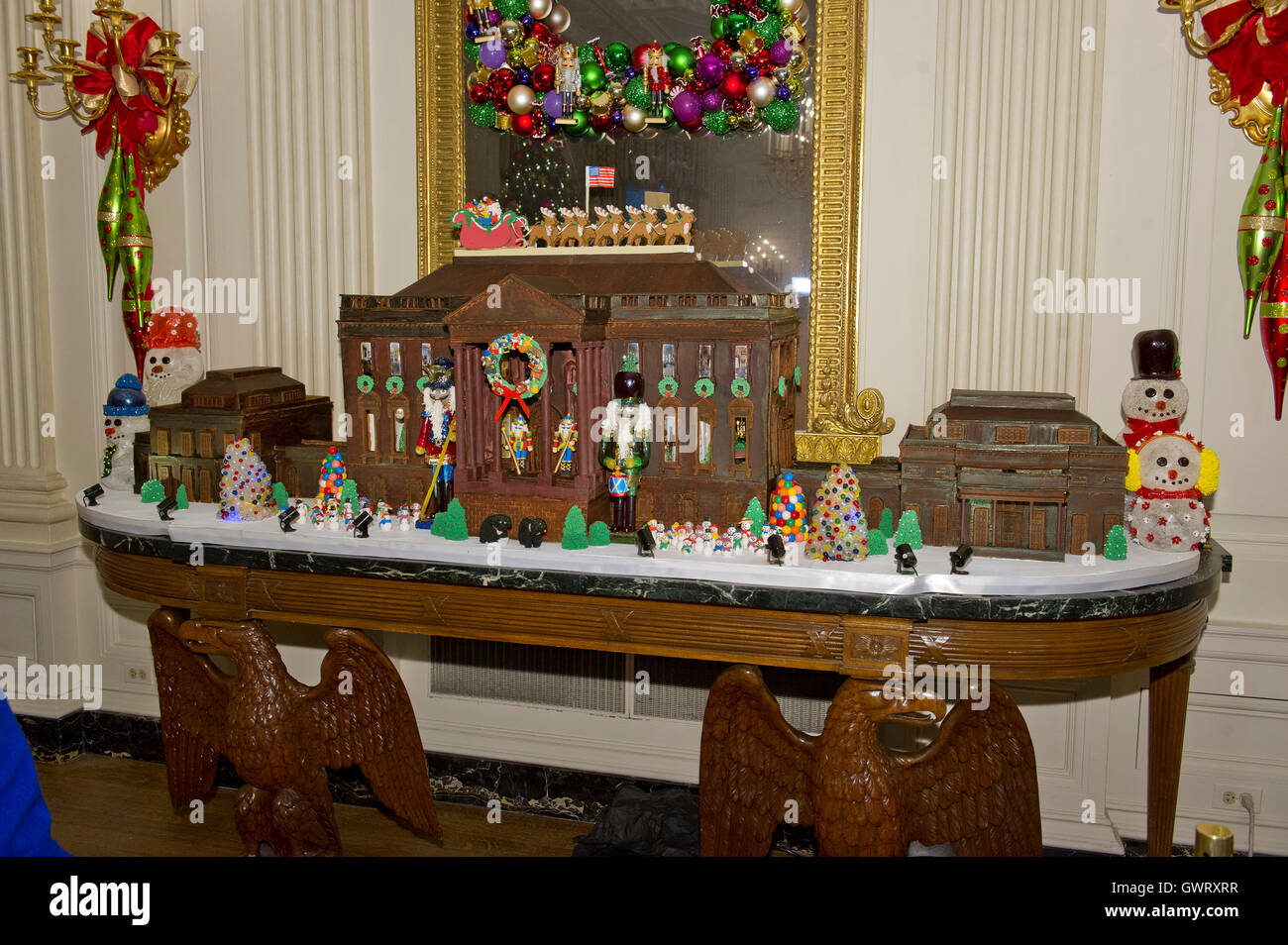 The traditional White House gingerbread house in the State