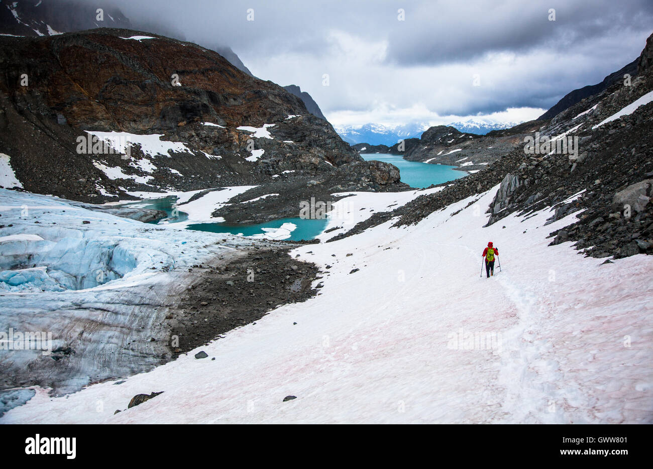 Back Country Exploration, Wedgmemount Lake, Whistler, British Columbia, Canada - Stock Image