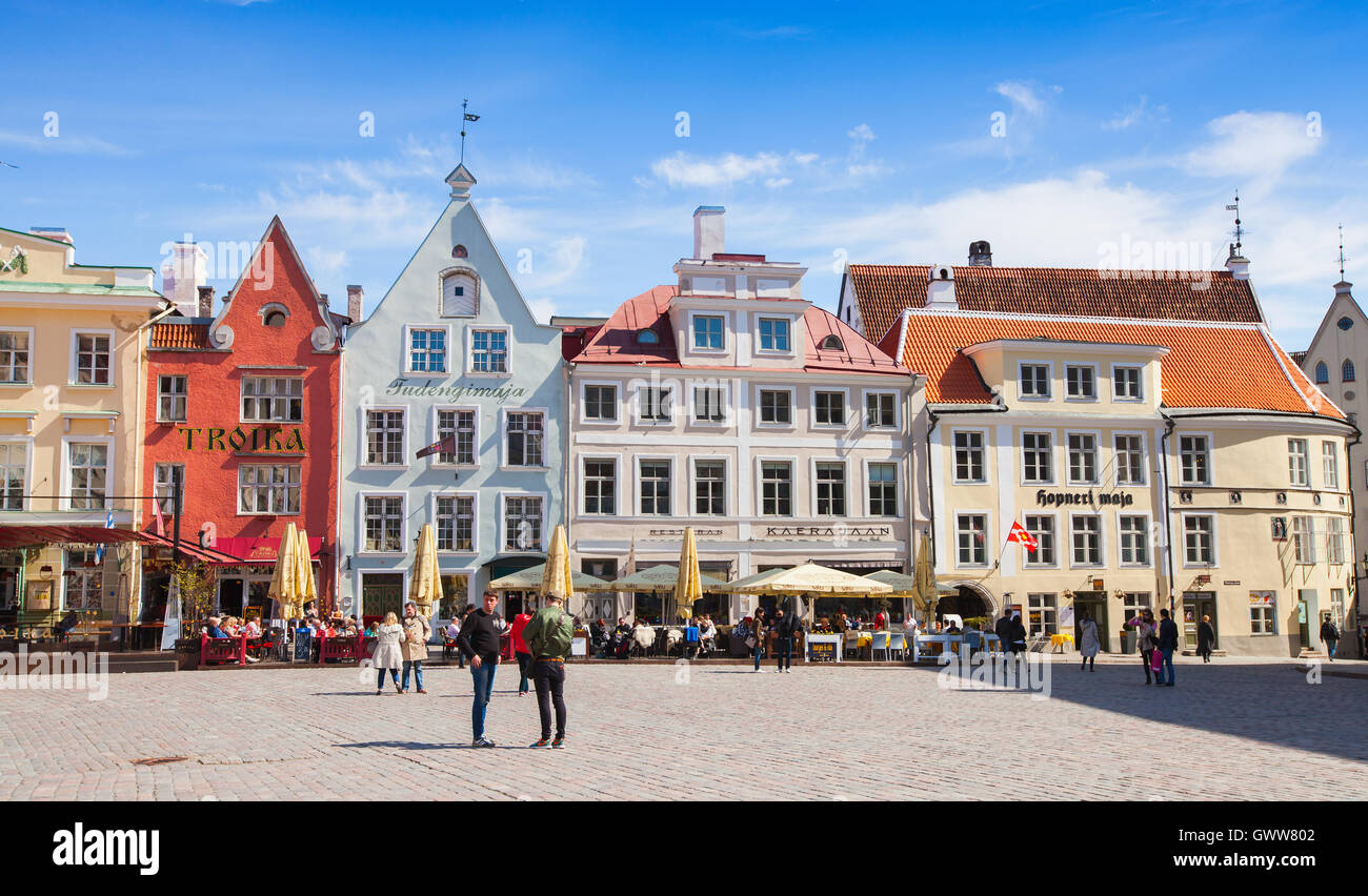 Tallinn, Estonia - May 2, 2016: Tourists walking on Town Hall square in central old Tallinn Stock Photo