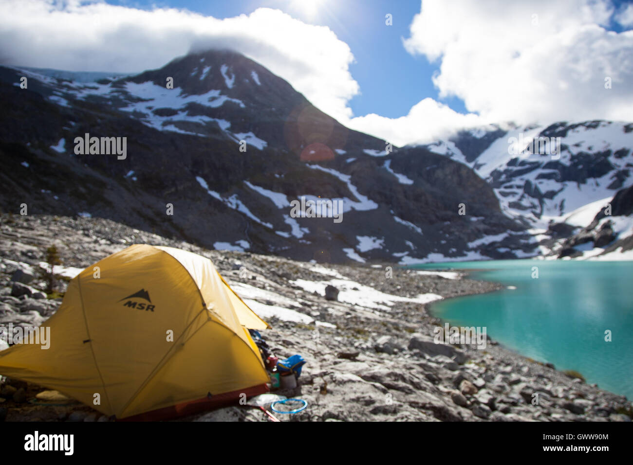 A Backcountry campsite at Wedgmemount Lake, Whistler, British Columbia Canada - Stock Image