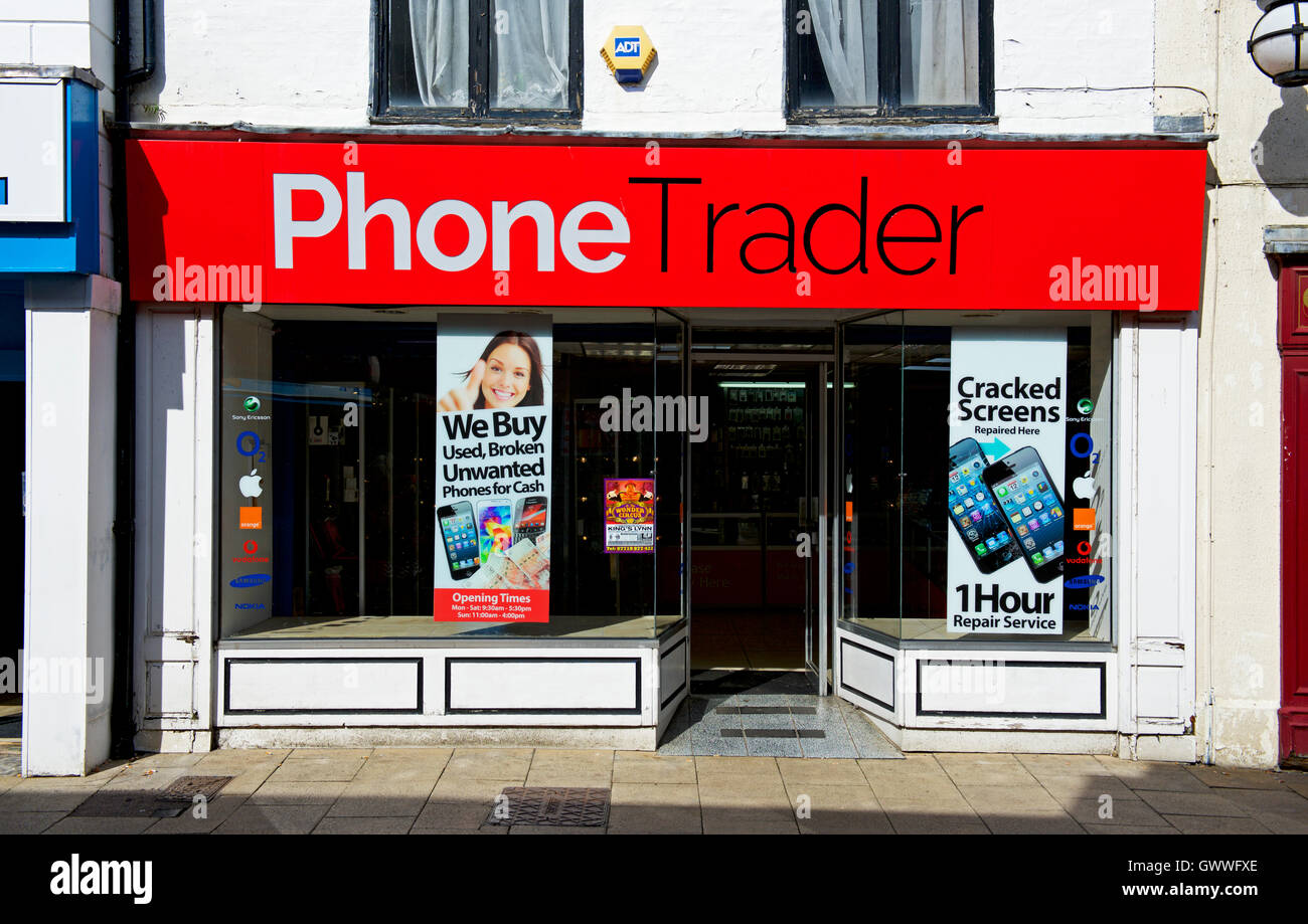 Phone Trader shop, England UK - Stock Image