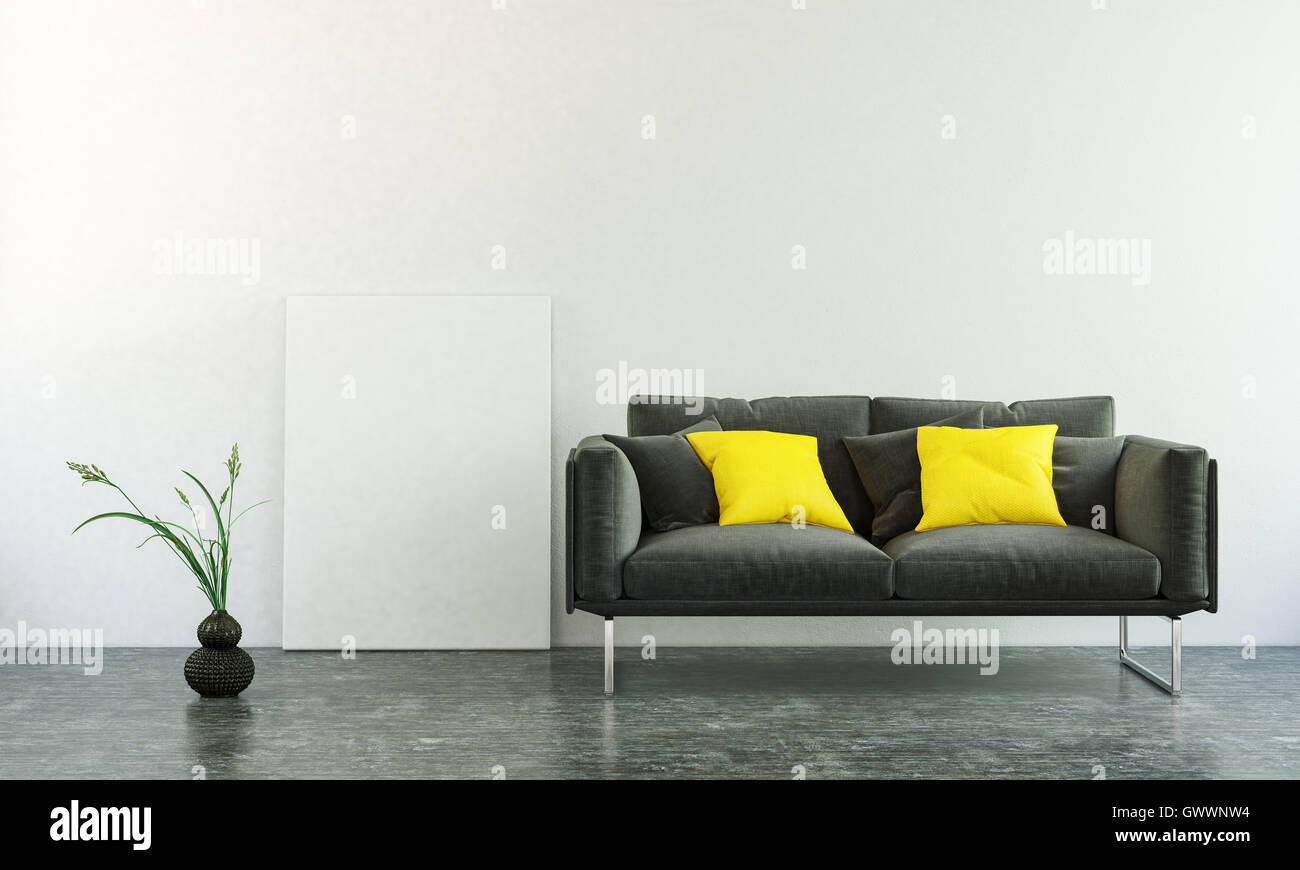 3D interior scene of black sofa with two square pillows, plant on ...
