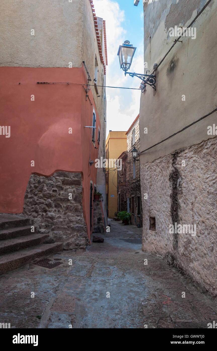 the beautiful alley of castelsardo old city - sardinia - italy Stock Photo