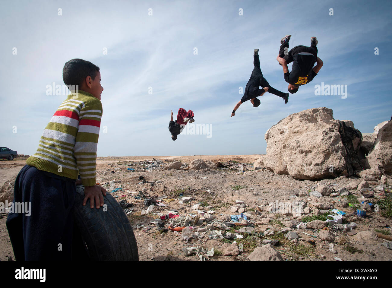 Some of the Parkour Team '3 Run Gaza' at  Beit Hanoun, Northern Gaza Strip. - Stock Image
