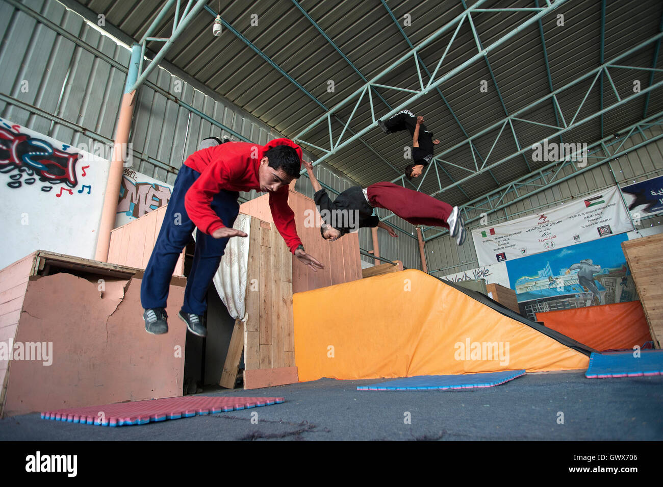 '3 Run Gaza' in training at their base in Beit Hanoun, Gaza Strip. Stock Photo
