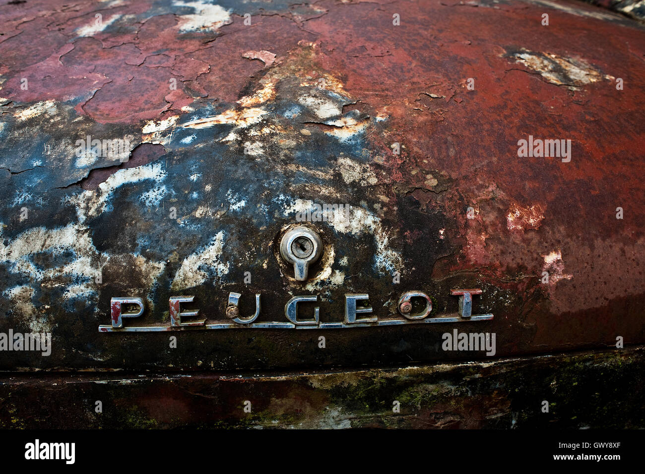 Rear cover of a Peugeot 404 damaged by rust,...( Madagascar) - Stock Image