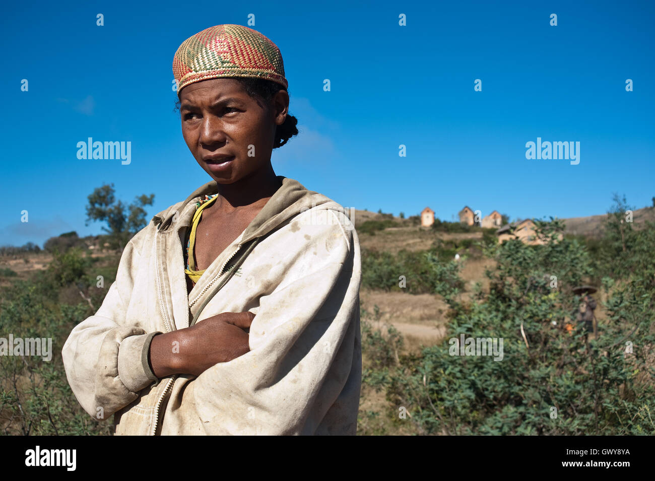 Portrait of a woman who is a ( part time) gold digger ( Madagascar). She belongs to the Betsileo ethnic group. - Stock Image