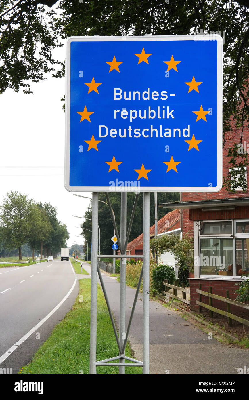 Sign at the border of The Netherlands and Germany near the Dutch village Ter Apel Stock Photo