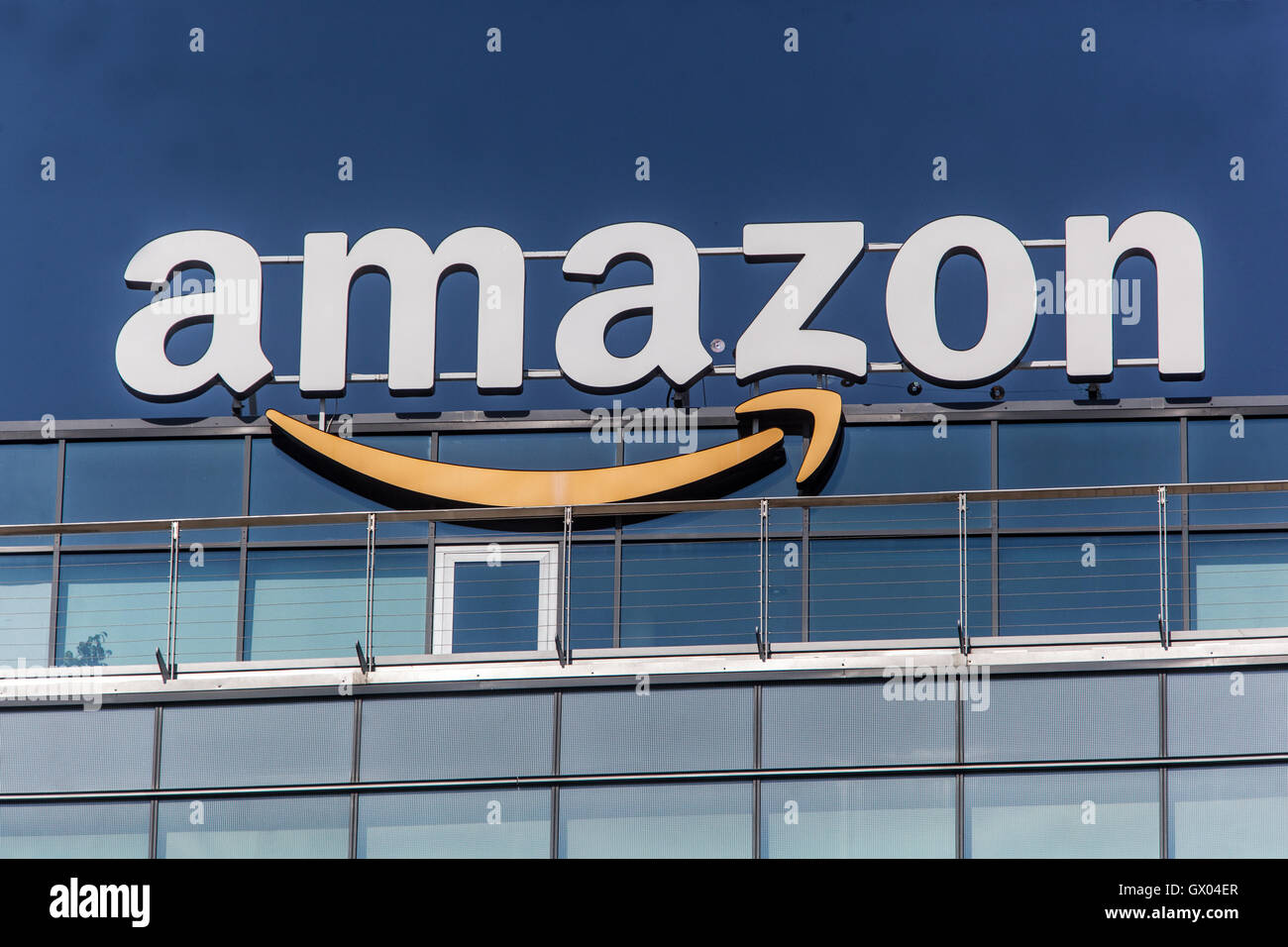 Amazon logo, sign on a top of building, Slovakia, Europe - Stock Image