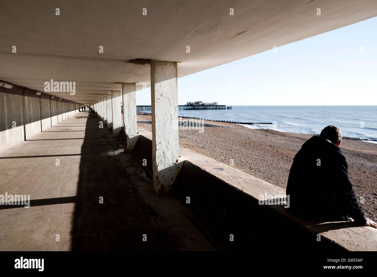 Hastings Pier. A lower deck of coast promenade. Color photograph. - Stock Image