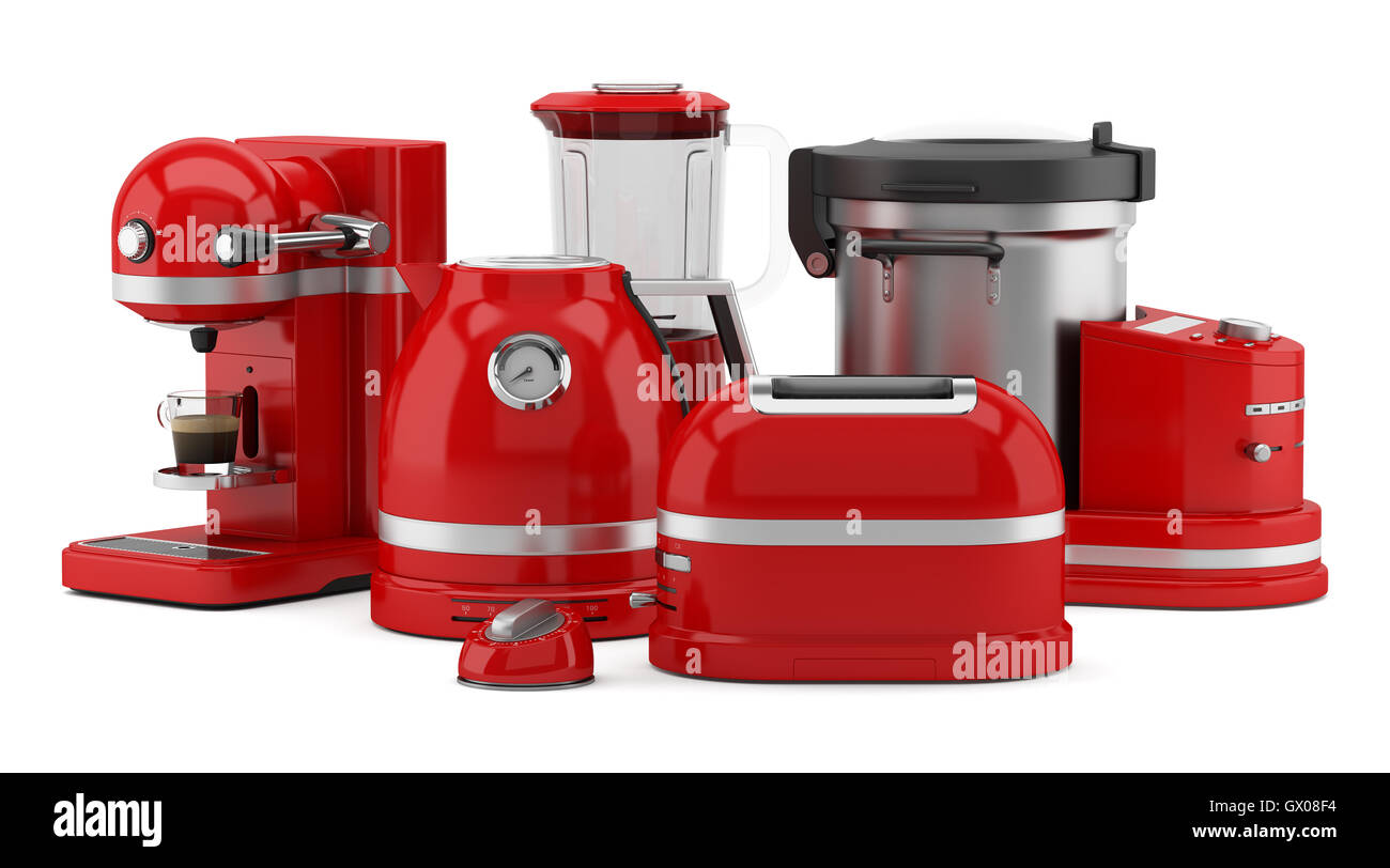 red kitchen appliances isolated on white background Stock ...