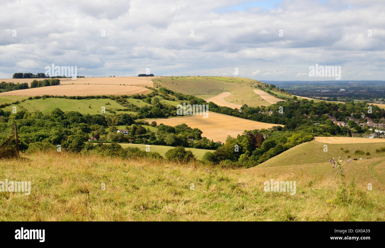Distant view of Bratton Camp and Combe Bottom from above Bratton village. Stock Photo