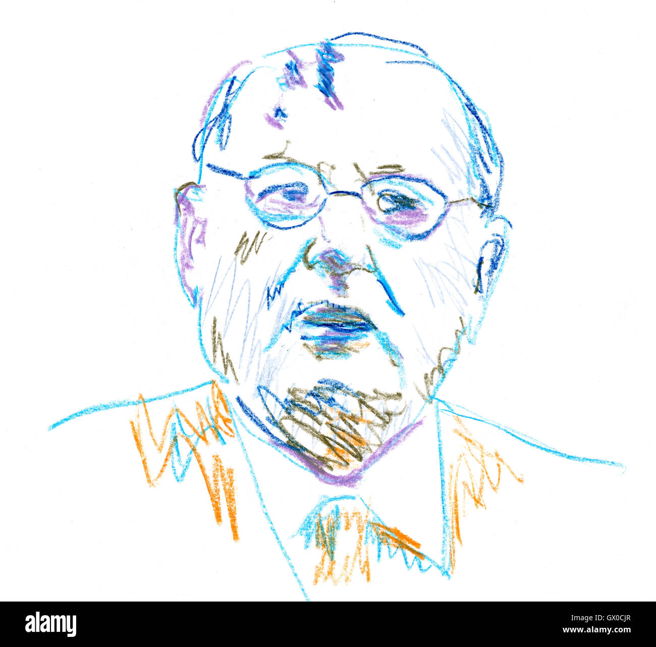 Mikhail Gorbachev in Color Pencil Drawing - Stock Image
