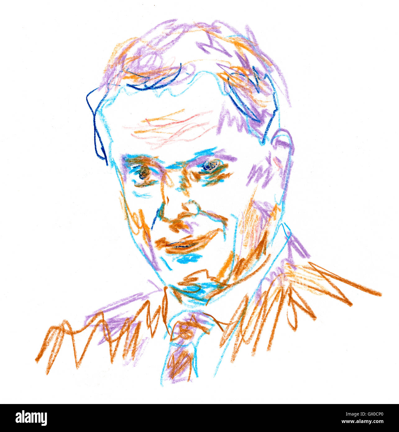 President of Finland, Sauli Niinistö in Color Pencil Drwing - Stock Image