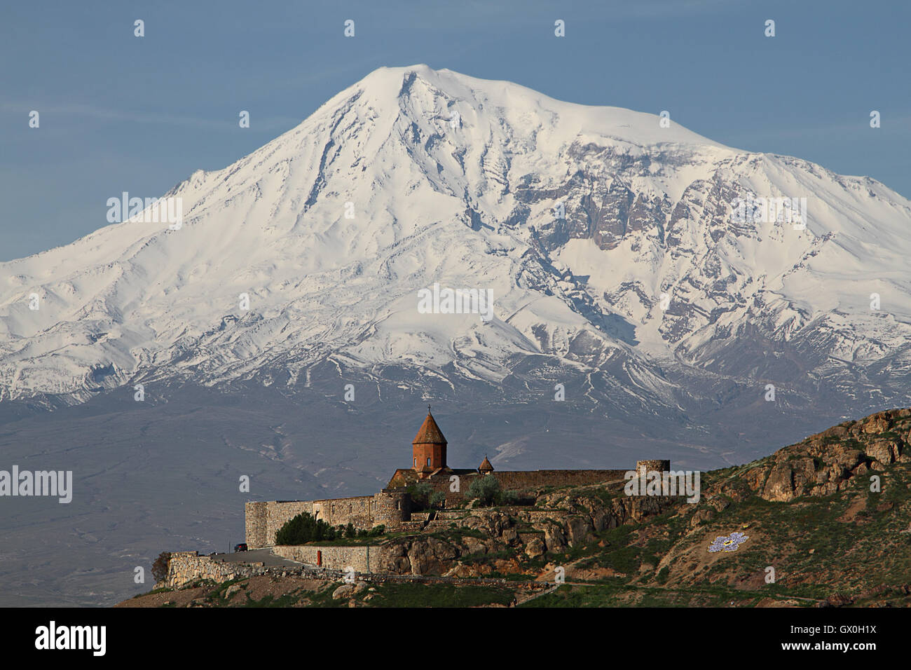 Monastery of Khor Virap in Armenia with the Mount Ararat in the background, at the centennial of the armenian genocide - Stock Image