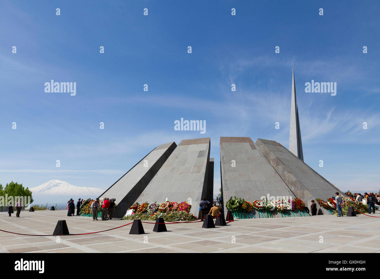 Genocide monument in Yerevan, Armenia with the Mount Ararat in the background, at the centennial of the Armenian - Stock Image