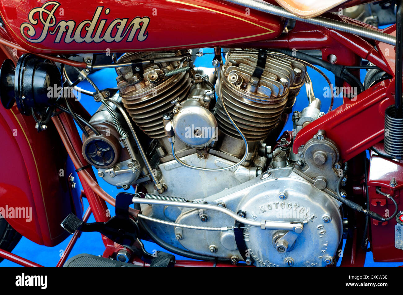 1930 Indian Scout Motorcycle. Classic American Motorcycle - Stock Image