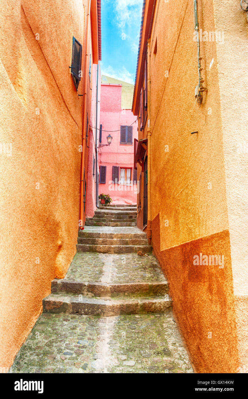 the beautiful alley of castelsardo old city - sardinia - italy - Stock Image