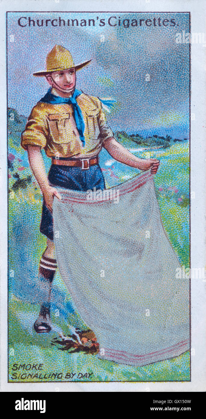 Churchman's cigarette card of a boy scout signalling by day - Stock Image
