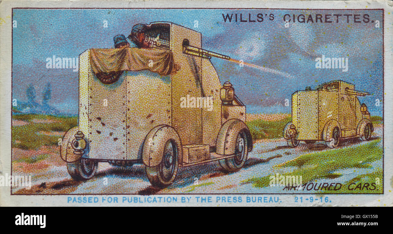 Will's cigarette card of a Serbian armoured car - Stock Image