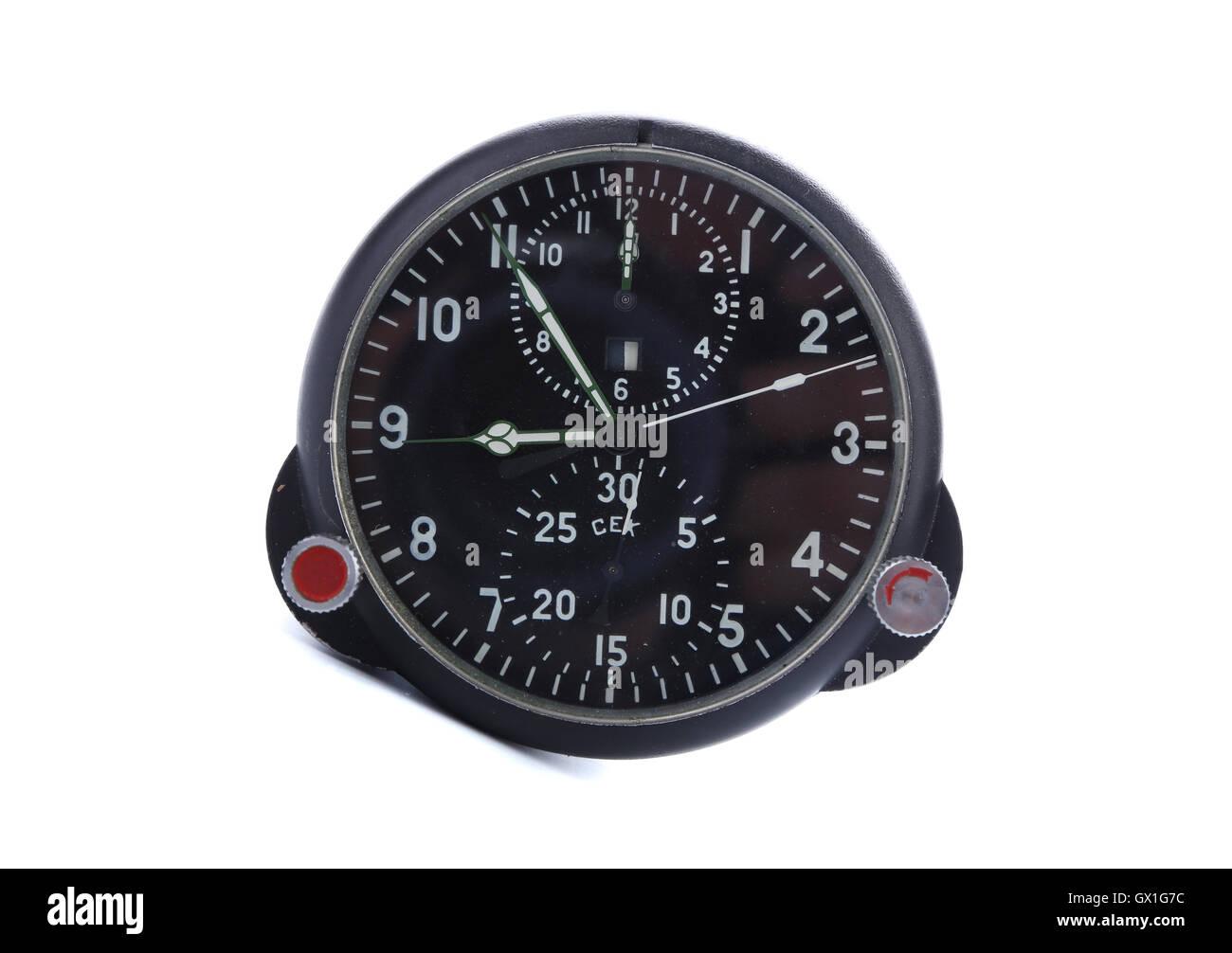 Old aircraft clock - Stock Image