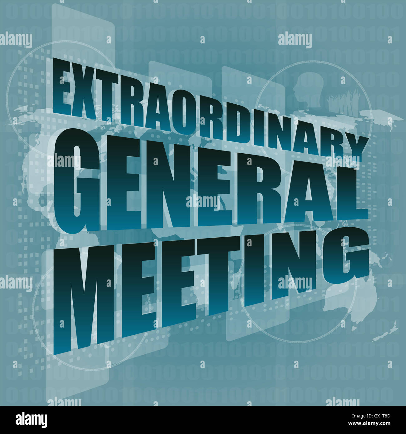 extraordinary general meeting word on digital touch screen - Stock Image