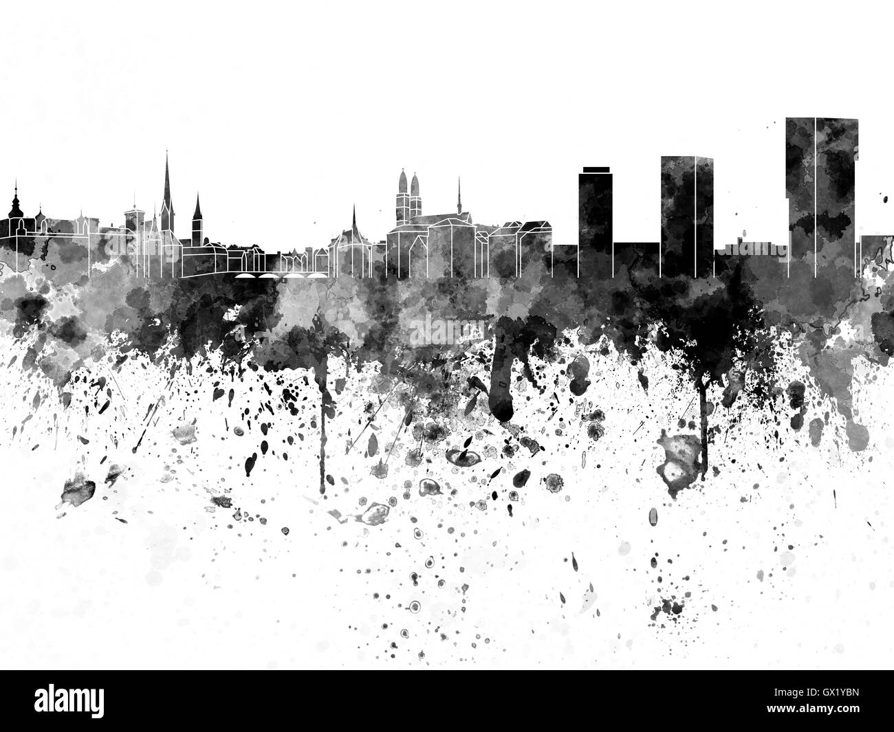 Zurich skyline in black watercolor on white background - Stock Image