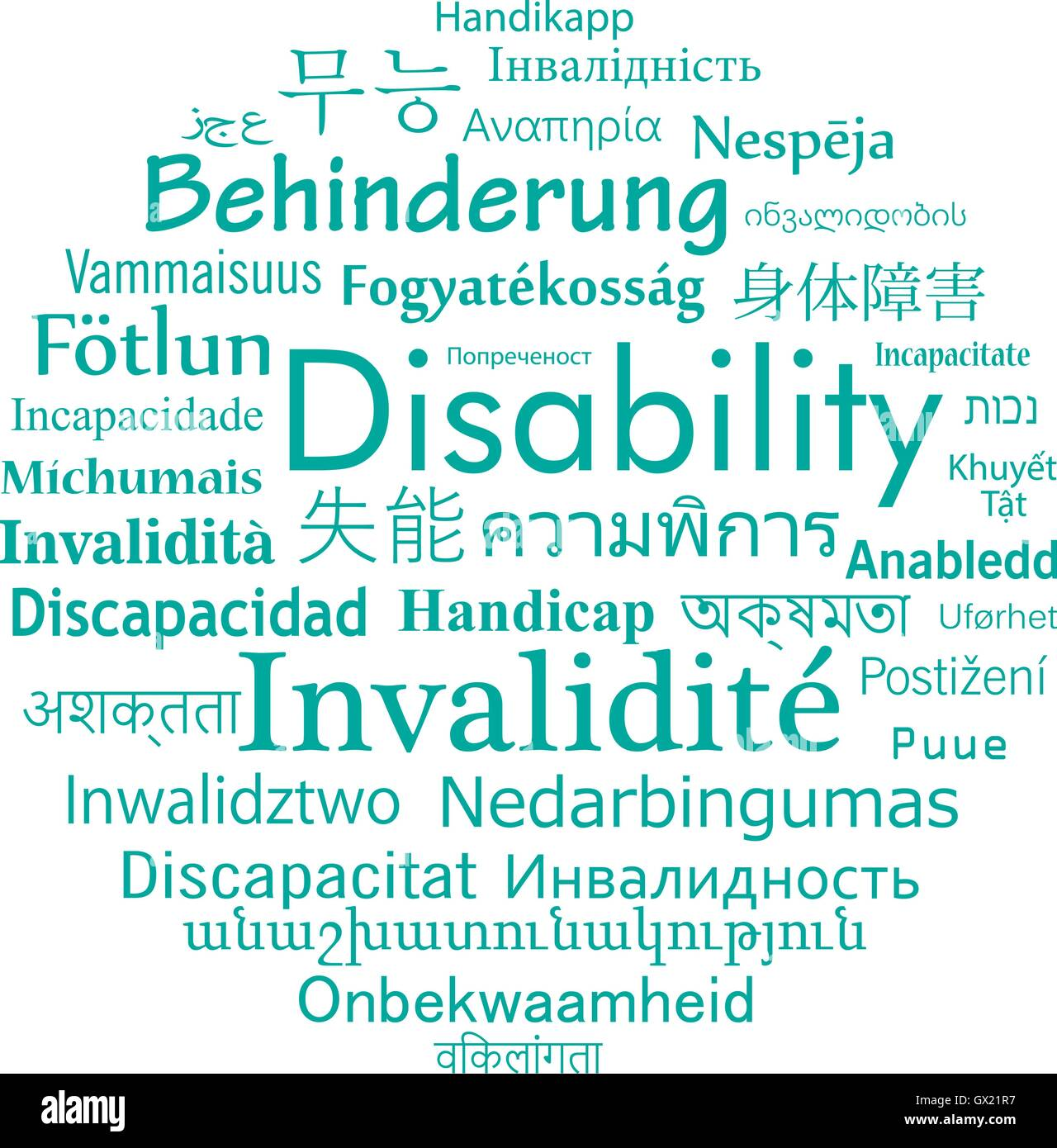 Disability in different language of the world. Vector word cloud for social problem. - Stock Image