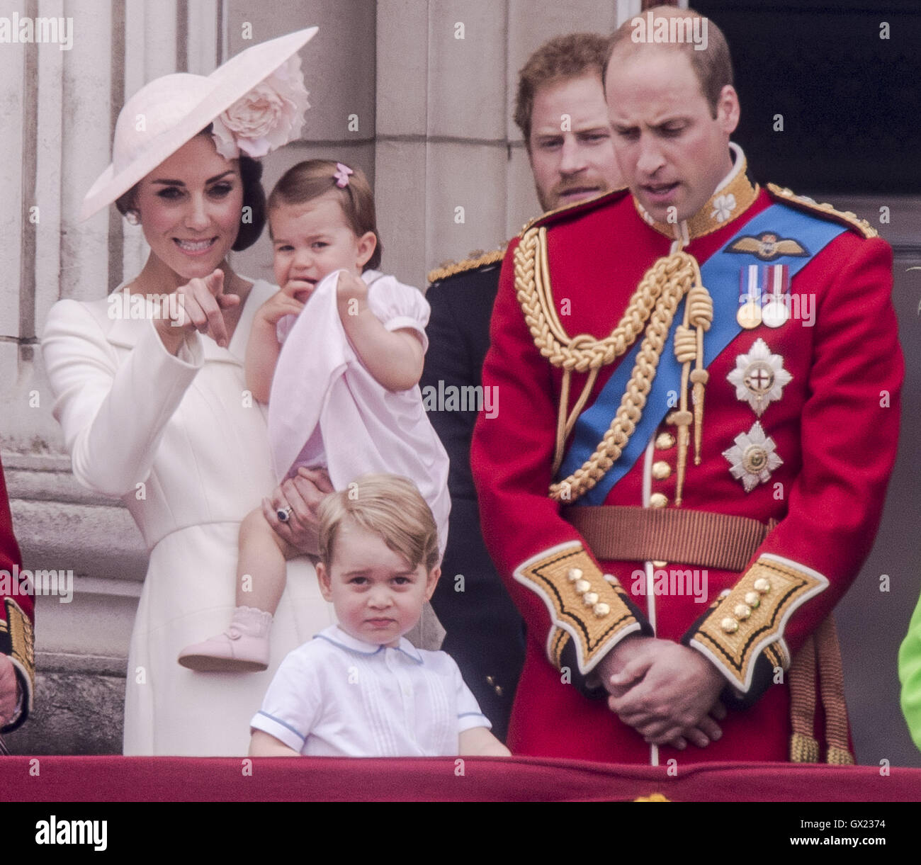 The Royal family  attends the 'Trooping of the Colour' which forms part of the Queen's 90th birthday - Stock Image